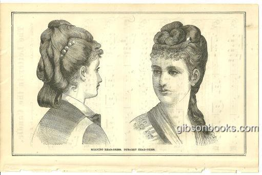Image for MORNING HEAD-DRESS AND DUBARRY HEAD-DRESS PAGE FROM 1876 PETERSON'S MAGAZINE