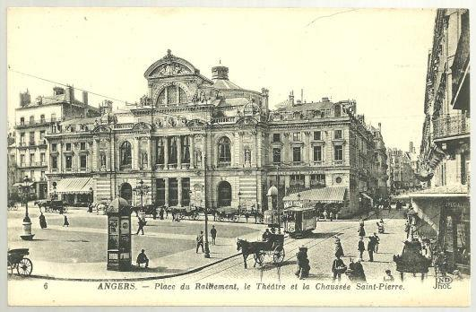 ANGERS, FRANCE, PLACE DU ROULEMENT LE THEATRE ET LA CHAUSSEE SAINT PIERRE, Postcard