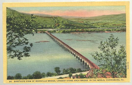 BIRD'S EYE VIEW OF ROCKVILLE BRIDGE, LONGEST STONE ARCH IN THE WORLD, HARRISBURG, PENNSYLVANIA, Postcard