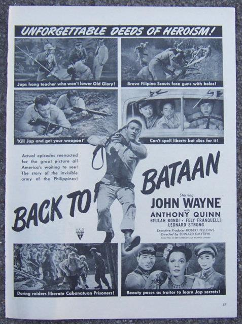 Image for 1945 BACK TO BATAAN MOVIE LIFE MAGAZINE ADVERTISEMENT