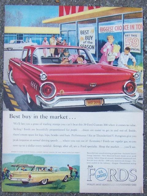 1959 FORD CUSTOM 300 LIFE MAGAZINE ADVERTISEMENT, Advertisement