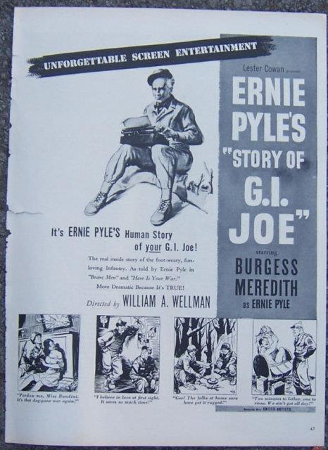 Image for 1945 ERNIE PYLE'S STORY OF G. I. JOE MOVIE LIFE MAGAZINE ADVERTISEMENT