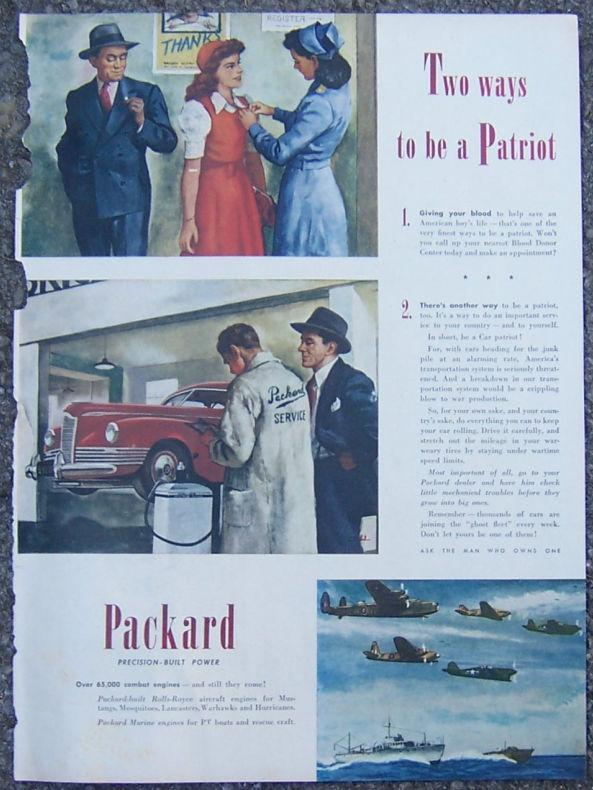 1945 PACKARD PATRIOT LIFE MAGAZINE ADVERTISEMENT, Advertisement