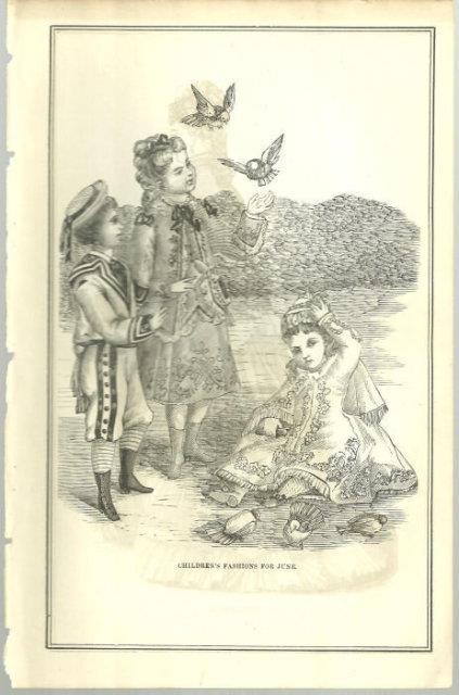 CHILDREN'S FASHIONS FOR JUNE 1876 PETERSON'S MAGAZINE, Print