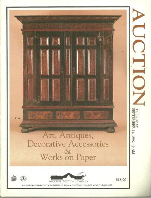 ANTIQUES, ART, DECORATIVE ACESSORIES AND WORKS ON PAPER Thursday September 24, 1992, Alderfer Auction Company
