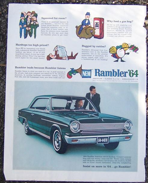 1964 RAMBLER SATURDAY EVENING POST MAGAZINE ADVERTISEMENT, Advertisement