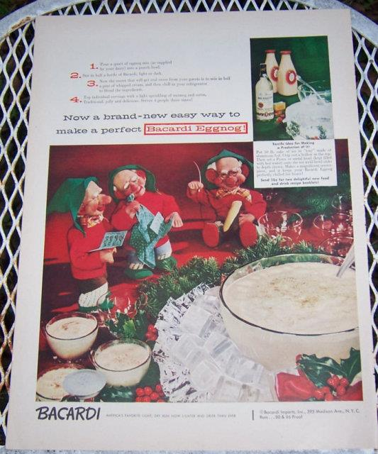 1956 BACARDI EGGNOG MAGAZINE CHRISTMAS ADVERTISEMENT, Advertisement