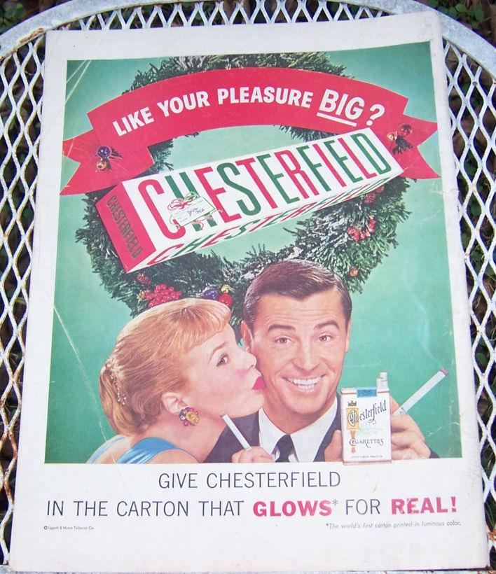 1956 CHESTERFIELD CHRISTMAS LIFE MAGAZINE ADVERTISEMENT, Advertisement