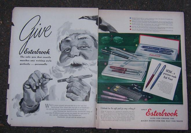 1956 ESTERBROOK PEN MAGAZINE CHRISTMAS ADVERTISEMENT, Advertisement