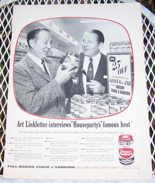 Image for 1956 ART LINKLETTER CHASE AND SANBORN COFFEE LIFE MAGAZINE ADVERTISEMENT