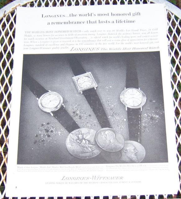 1963 LONGINES WATCH CHRISTMAS MAGAZINE ADVERTISEMENT, Advertisement