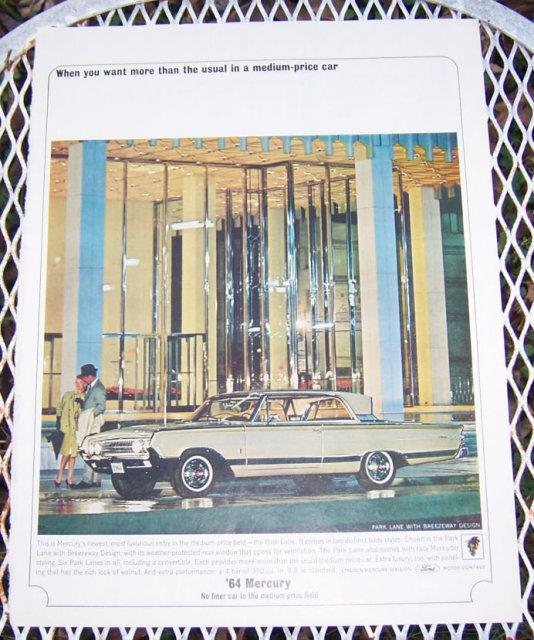 1963 MERCURY PARK LANE AUTOMOBILE MAGAZINE ADVERTISMENT, Advertisement
