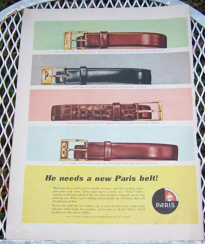 Image for 1956 PARIS BELT CHRISTMAS LIFE MAGAZINE ADVERTISEMENT