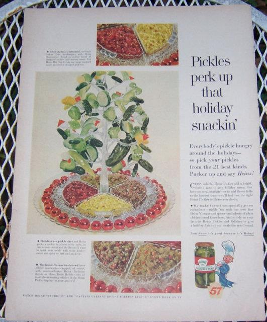 1956 HEINZ PICKLES MAGAZINE CHRISTMAS ADVERTISEMENT, Advertisement