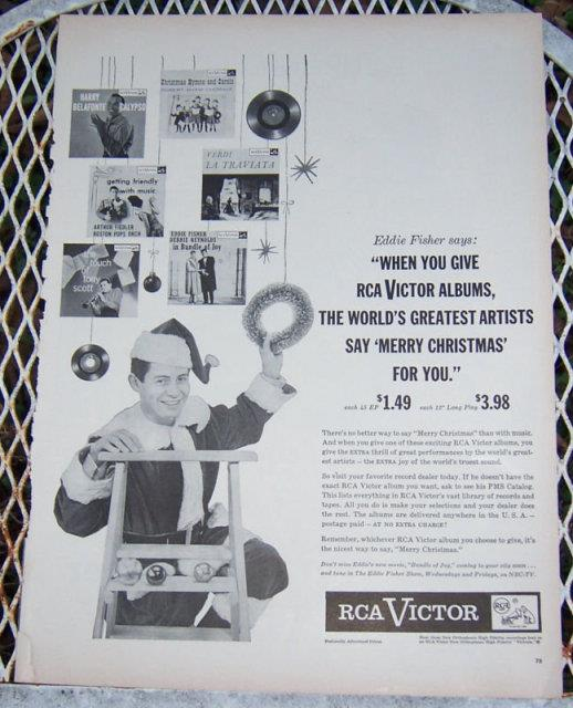 1956 EDDIE FISHER CHRISTMAS ALBUM MAGAZINE ADVERTISEMENT, Advertisement