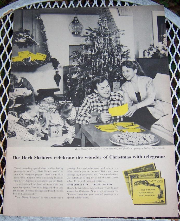 1956 CHRISTMAS TELEGRAMS LIFE MAGAZINE ADVERTISEMENT, Advertisement