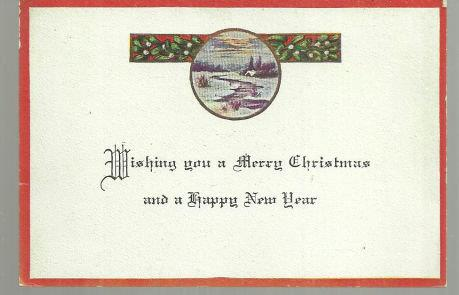VINTAGE MERRY CHRISTMAS CARD WITH SNOWY LANDSCAPE, Christmas
