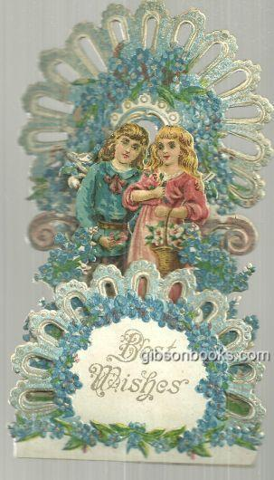 VICTORIAN FOLD OUT BEST WISHES CARD WITH BOY AND GIRL