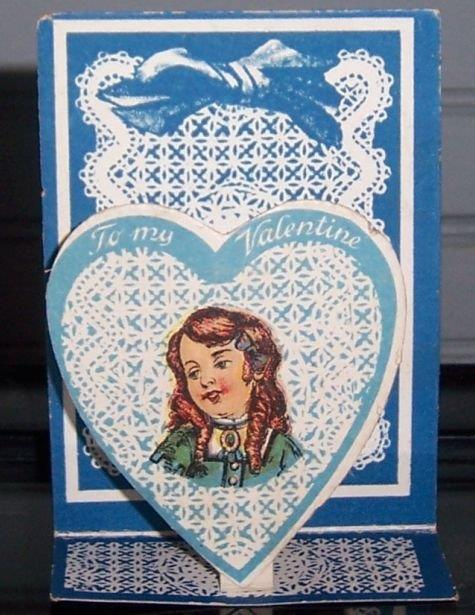 VICTORIAN FOLD OUT VALENTINE WITH GIRL IN BLUE HEART, Valentine