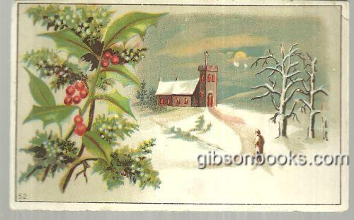 Image for VICTORIAN CARD WITH MAN WALKING TO SNOWY CHURCH