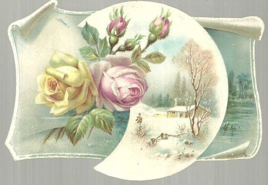 Image for VICTORIAN CARD WITH WINTER SCENE AND ROSES IN CRESCENT MOON
