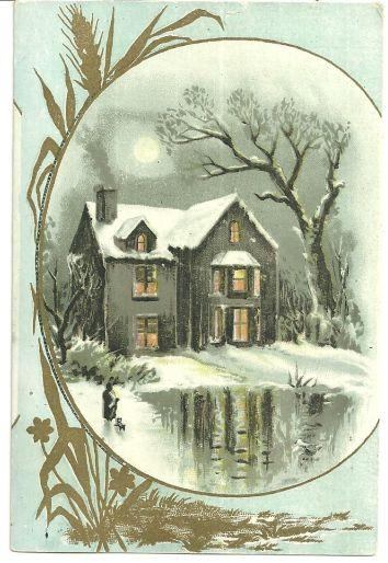 Image for VICTORIAN CARD WITH SNOWY HOUSE AND GOLDEN WHEAT