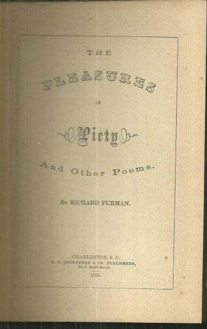 PLEASURES OF PIETY AND OTHER POEMS, Furman, Richard