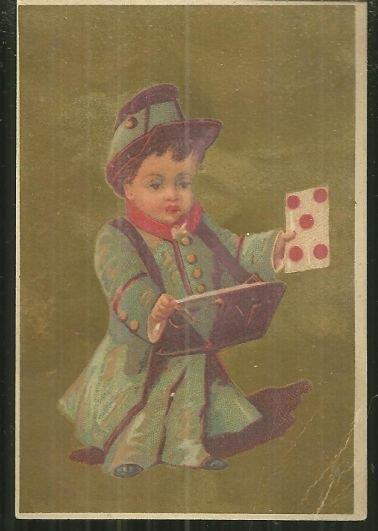 VICTORIAN CARD WITH BOY IN UNIFORM HOLDING CARD, Advertisement