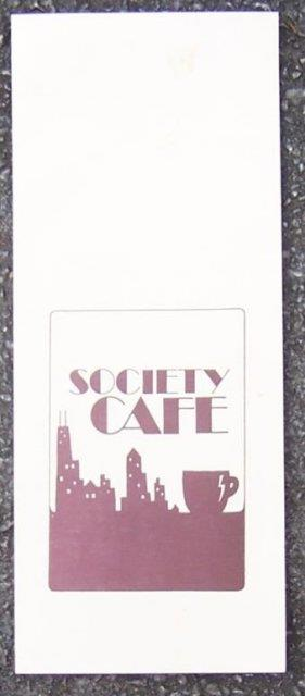 Image for VINTAGE MENU FROM SOCIETY CAFE, CHICAGO, ILLINOIS