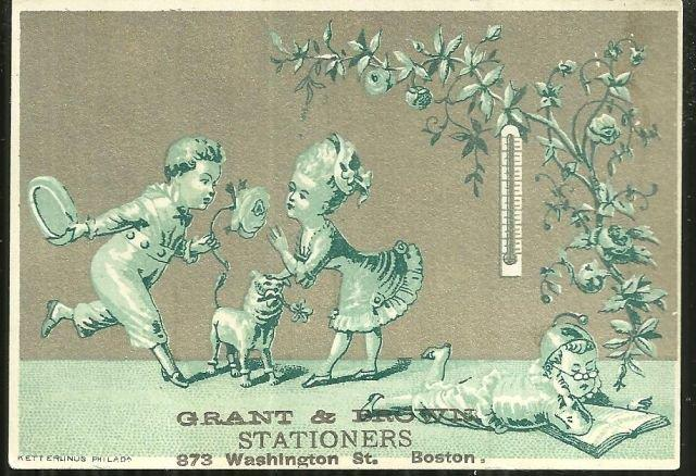 VICTORIAN TRADE CARD FOR GRANT AND BROWN STATIONERS, BOSTON, MASSACHUSETTS, Advertisement