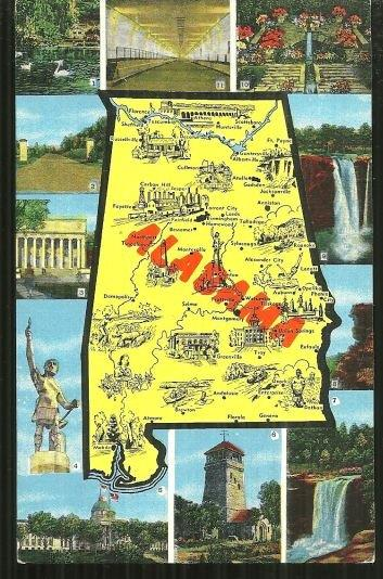 MAP POSTCARD OF ALABAMA, Postcard