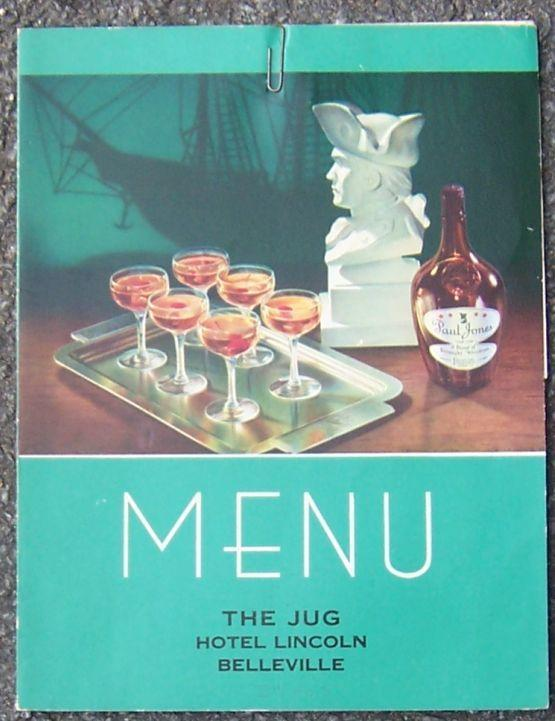VINTAGE MENU FOR THE JUG, HOTEL LINCOLN, BELLEVILLE, ILLINOIS, Menu