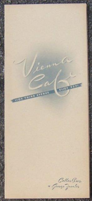 VINTAGE MENU VIENNA CAFE 1109 THIRD AVE ELIOT 9291, Menu