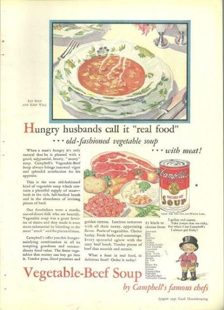 1932 GOOD HOUSEKEEPING MAGAZINE COLOR ADVERTISEMENT FOR CAMPBELL'S VEGETABLE-BEEF SOUP, Advertisement