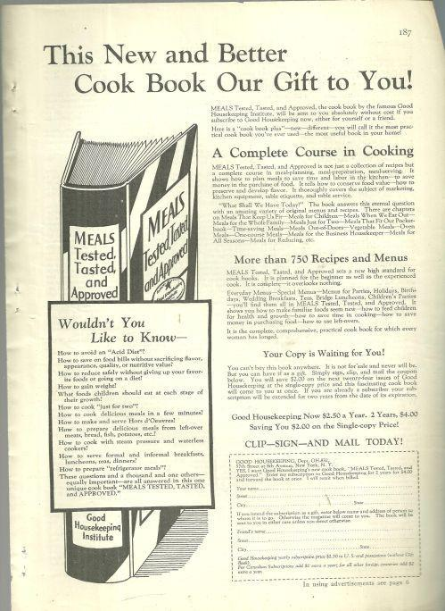 1932 GOOD HOUSEKEEPING MAGAZINE ADVERTISEMENT FOR MEALS TESTED, TASTED AND APPROVED COOK BOOK, Advertisement