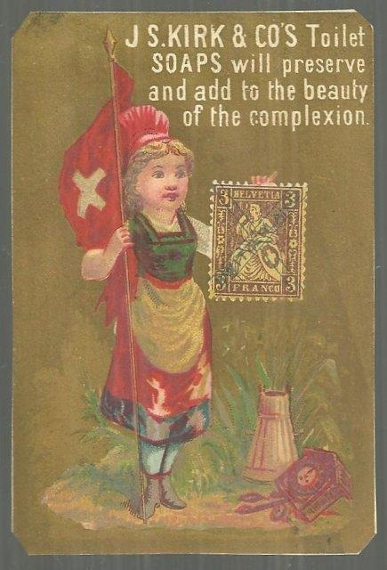 VICTORIAN TRADE CARD FOR J S KIRK TOILET SOAPS, Advertisement