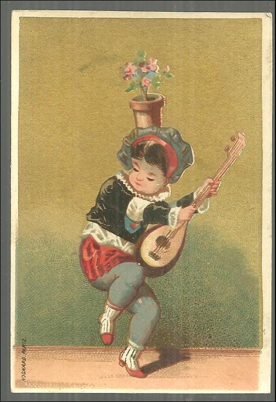 VICTORIAN CARD WITH DANCING BOY WITH INSTRUMENT AND FLOWER POT ON HEAD, Advertisement
