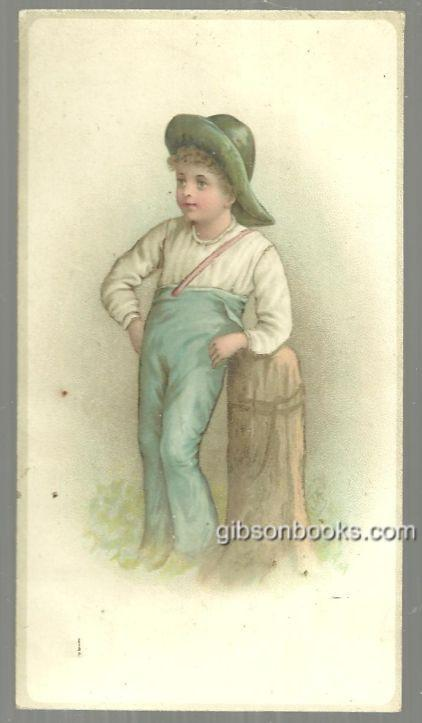 VICTORIAN CARD WITH BOY LEANING ON POST, Advertisement
