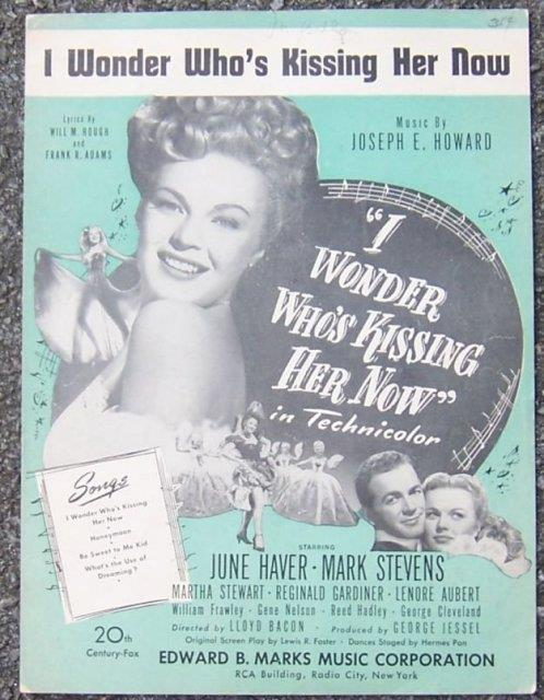 I WONDER WHO'S KISSING HER NOW, Sheet Music