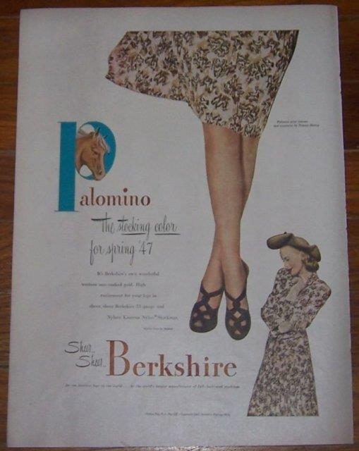 Image for 1947 BERKSHIRE STOCKINGS PALOMINO LIFE MAGAZINE ADVERTISEMENT