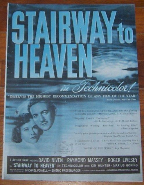 Image for 1947 STAIRWAY TO HEAVEN MOVIE MAGAZINE ADVERTISEMENT
