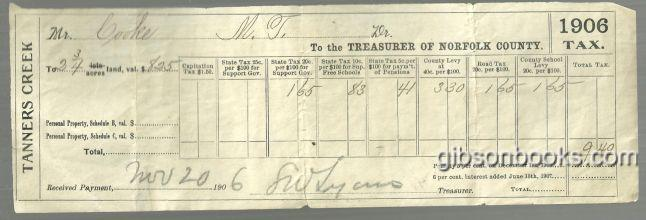 1906 TAX BILL FOR TANNERS CREEK, NORFOLK COUNTY, COMMONWEALTH OF VIRGINIA, Ephemera