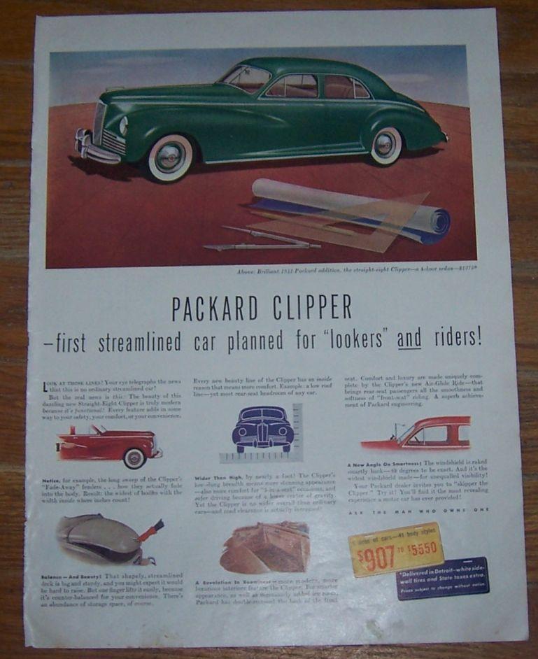 1941 PACKARD CLIPPER WORLD WAR II LIFE MAGAZINE ADVERTISEMENT, Advertisement