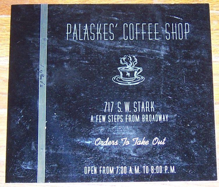 VINTAGE MENU FOR PALASKES' COFFEE SHOP, PORTLAND, OREGON, Menu