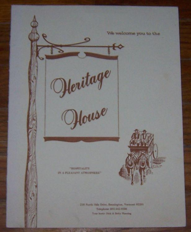 VINTAGE MENU FOR HERITAGE HOUSE, BENNINGTON, VERMONT, Menu