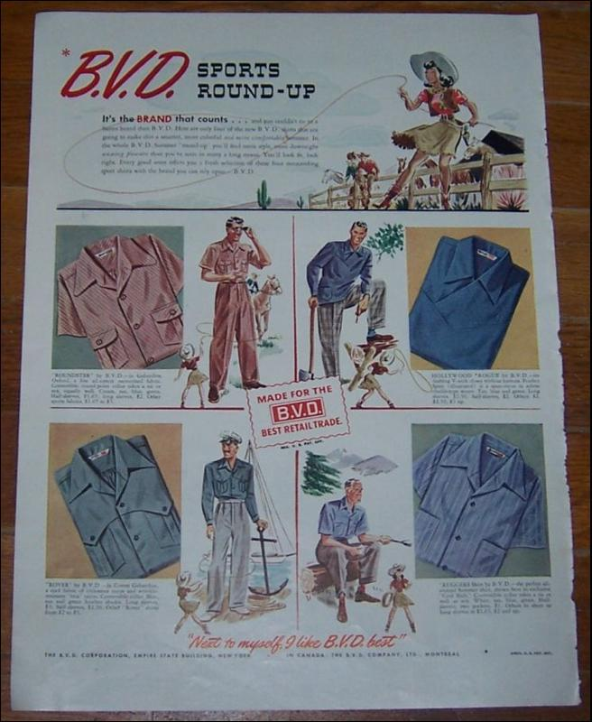 Image for 1941 WORLD WAR II B. V. D. SHIRTS MAGAZINE ADVERTISEMENT