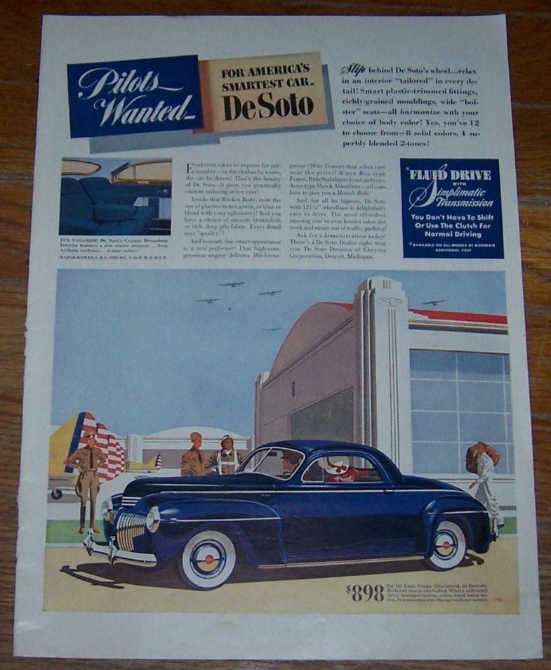1941 DE SOTO WORLD WAR II LIFE MAGAZINE ADVERTISEMENT, Advertisement