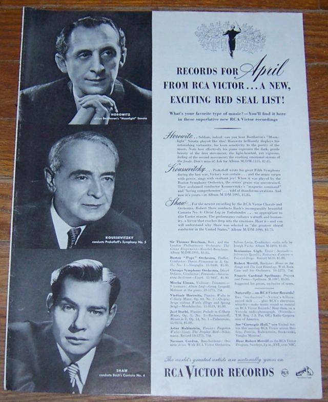 Image for 1947 RECORDS FOR APRIL RCA VICTOR RECORDS MAGAZINE ADVERTISEMENT