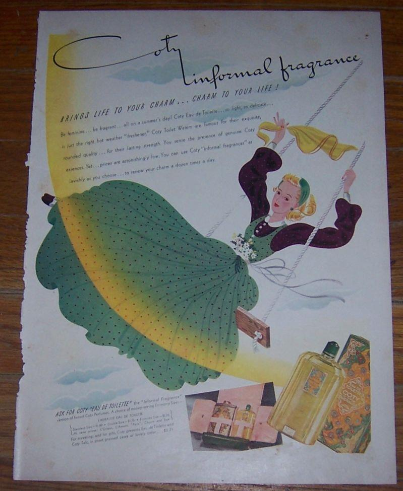 Image for 1940 COTY INFORMAL FRAGRANCE LIFE MAGAZINE COLOR ADVERTISEMENT