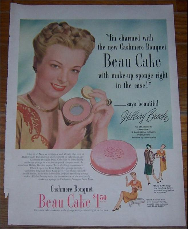 Image for 1947 BEAU CAKE MAKE UP LIFE MAGAZINE COLOR ADVERTISEMENT WITH HILLARY BROOKE